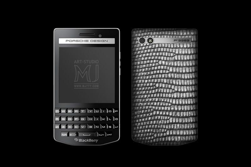 Blackberry Porsche Design p9983 Varanus Skin Lizard Grey Silver Glazed